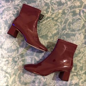 Zara red leather ankle boots
